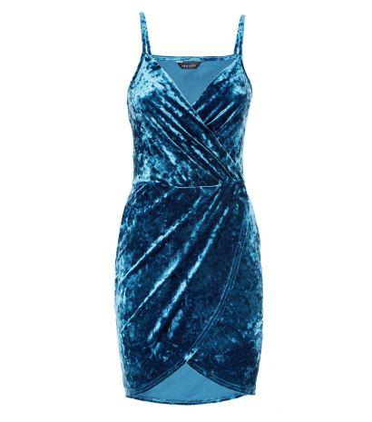 teal-velvet-wrap-front-mini-dress